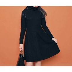 HOTPING - Turtle-Neck A-Line Knit Dress