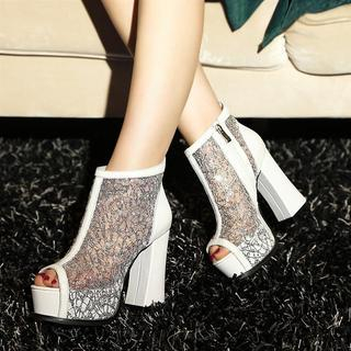 JY Shoes - Mesh Panel Peep Toe Platform Ankle Boots