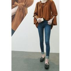 ATTYSTORY - Frilled Tie-Neck Shirred Top