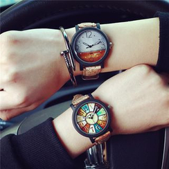 Tacka Watches - Couple Matching Faux Leather Strap Watch