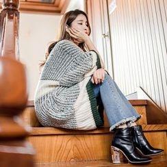 WITH IPUN - Drop-Shoulder Color-Block Knit Dress