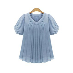 GRACI - Drape Puff-sleeve Chiffon Top