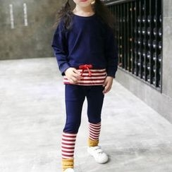 Matatabi - Kids Set: Long-Sleeve Stripe-Panel Top + Stripe-Panel Pants