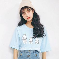 SUYISODA - Printed Elbow-Sleeve T-shirt