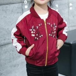 Matatabi - Kids Embroidered Zip Baseball Jacket
