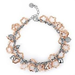 MBLife.com - Left Right Accessory - 925 Sterling Silver Two Tone Hollow Flower with Beads Chain Bracelet (6.5') Women Jewellery