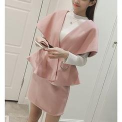 Eva Fashion - Set: Plain Cape Jacket + Skirt