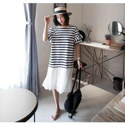 Miamasvin - Short-Sleeve Pleated-Hem Striped Midi Dress