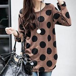 Dream Girl - Long-Sleeve Round-Neck Dotted T-Shirt