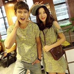 Evolu Fashion - Short-Sleeve Cartoon Print Couple T-Shirt