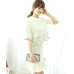 Dodostyle - Set: Scalloped-Hem Elbow-Sleeve Top + Ruffle-Hem Skirt
