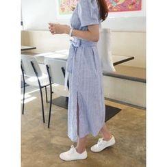 hellopeco - Puff-Sleeve Tie-Waist Stripe Long Dress