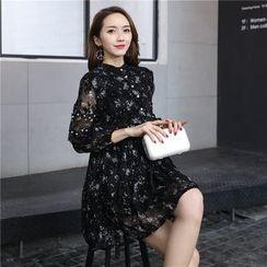 Romantica - 3/4-Sleeve Paneled Printed Dress