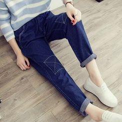 Melon Juice - Patchwork Fleece Lined Straight-Cut Jeans