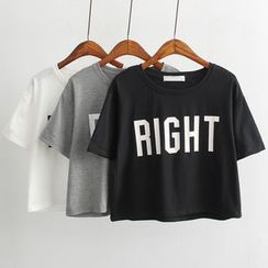 Coolvibe - Short-Sleeve Lettering Cropped T-Shirt