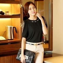 Styleonme - Rhinestone Beaded Elbow Sleeve Chiffon Blouse