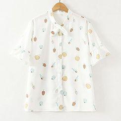 ninna nanna - Printed Frill Trim Short Sleeve Chiffon Shirt