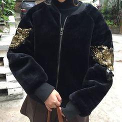 Dute - Embellished Eagle Appliqué Faux Fur Jacket