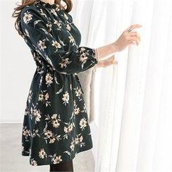 PIPPIN - Frill-Neck Drawstring-Waist Flower Pattern Cotton Dress