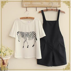 Fairyland - Set : Short Sleeves Print T-shirt + Jumpsuit