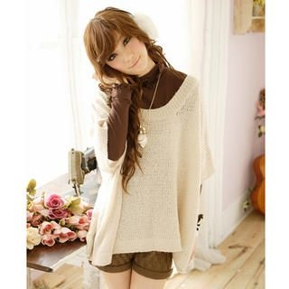 Tokyo Fashion - Elbow-Sleeve Off-Shoulder Sweater