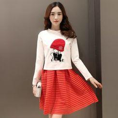 Enjoi - 套裝: 貼布繡長袖上衣 + A字裙