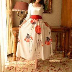 MUSI - Floral Print 3/4-Sleeve Maxi Chiffon Dress