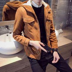 EVAMORE - Hooded Faux Suede Jacket