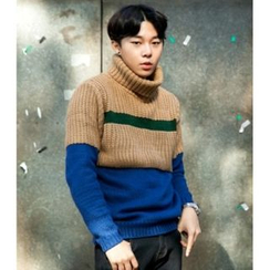 ABOKI - Turtle-Neck Color-Block Sweater