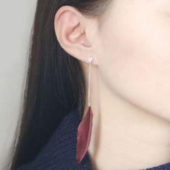 Blinglitz - Feather Single Drop Earring