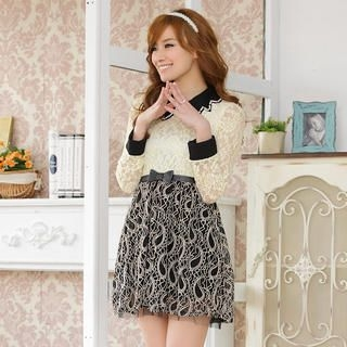 JK2 - Beaded-Collar Belted Lace Dress