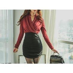 UUZONE - Wrap Shirred Dress
