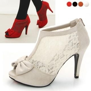 Open-Toe Lace Trim Faux-Suede Pumps