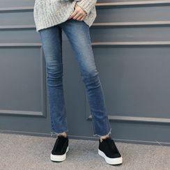 DANI LOVE - Fray-Hem Semi Boot-Cut Jeans