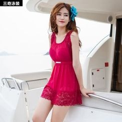rosiwini - Lace Trim Swim Dress