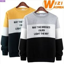 WIZIKOREA - Lettering Color-Block Sweatshirt