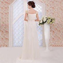 Bridal Workshop - Rosette Cap-Sleeve A-Line Evening Gown