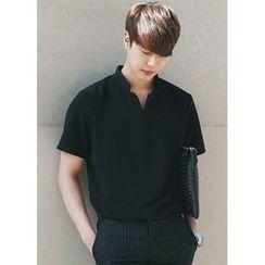 JOGUNSHOP - Mandarin-Collar Polo Shirt