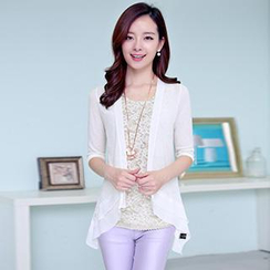 Romantica - Elbow-Sleeve Lace-Panel Knit Cardigan