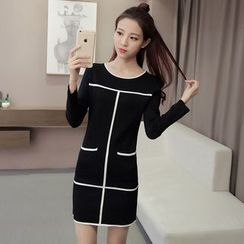 lilygirl - Contrast Trim Long Sleeve Knit Dress