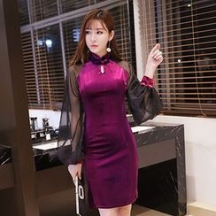 Neon Nite - Lantern Sleeve Velvet Sheath Dress