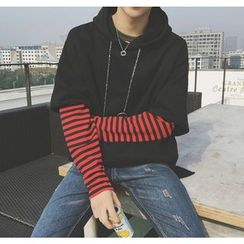 Bestrooy - Striped Mock Two-Piece Hoodie