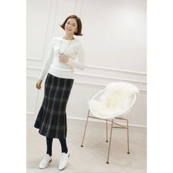 Lemite - Ruffle-Hem Plaid Long Skirt