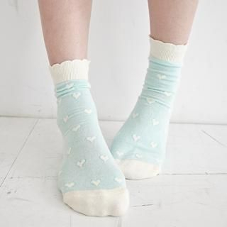 BAIMOMO - Scalloped-Trim Heart-Print Socks