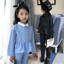 Pegasus - Kids Collared Long Sleeve Peplum Top