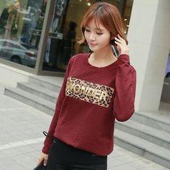 CLICK - Leopard Print Trim T-Shirt