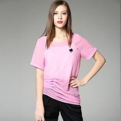 Y:Q - Asymmetrical Short-Sleeve T-Shirt