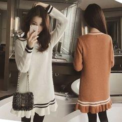 Bloombloom - Long-Sleeve Knit A-line Dress