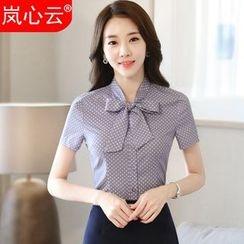 Skyheart - Polka Dot Tie-Neck Short-Sleeve Dress Shirt / + Skirt