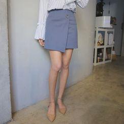 Envy Look - Eyelet-Detail Wrap-Front Mini Skirt